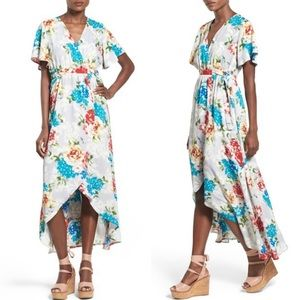 June & Hudson Gray Floral Wrap Maxi Dress High Low